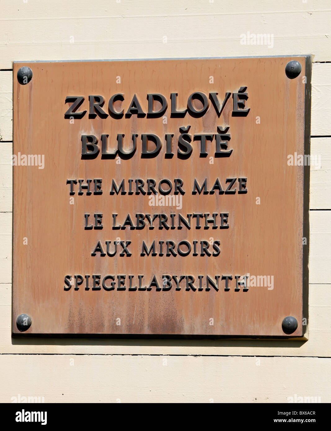 Prague, sign for miror maze at Petrin which was first introduced at an exhibition in 1891. (CTK Photo/Martin Sterba) - Stock Image