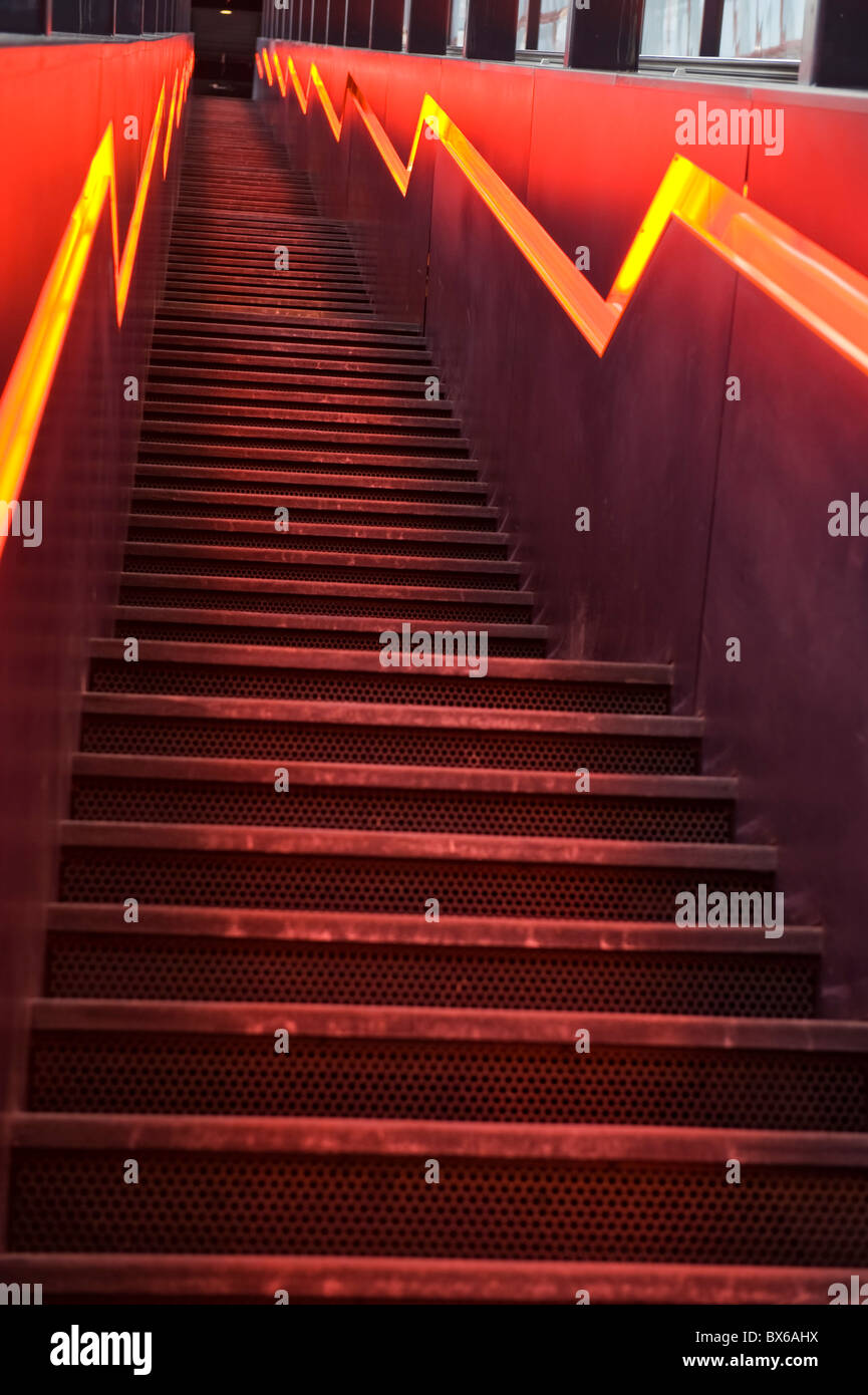Stairs to the visitor area of the Ruhr Museum Zeche Zollverein World Heritage Site in Essen, North Rhine-Westphalia, - Stock Image