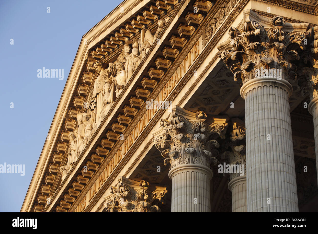 Pediment and Corinthian columns of the Pantheon, Paris, France, Europe Stock Photo