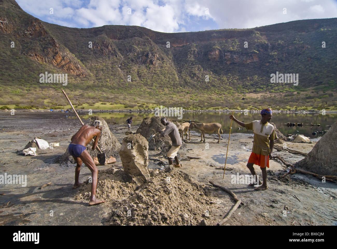 Workers digging for salt, El Sod crater lake, Ethiopia, Africa - Stock Image