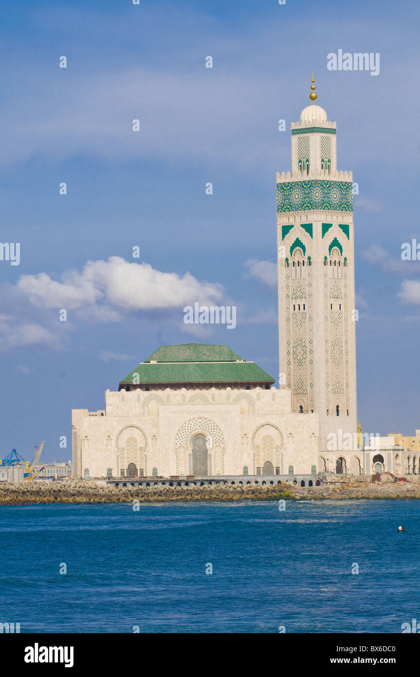 The Hassan II Mosque, largest mosque in Morocco, Casablanca, Morocco, North Africa, Africa - Stock Image