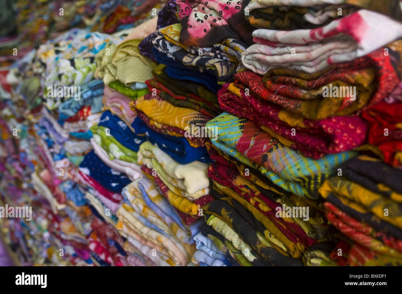 Colourful clothes for sale, Nouakchott, Mauritania, Africa - Stock Image