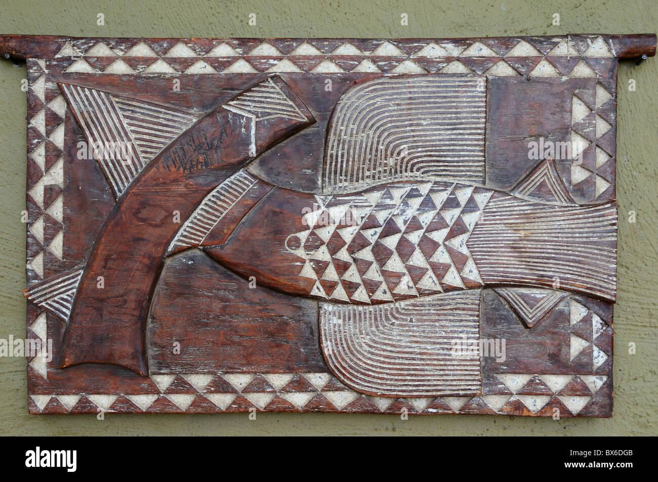 A wood carve decoration. Kruger National Park, South Africa. - Stock Image