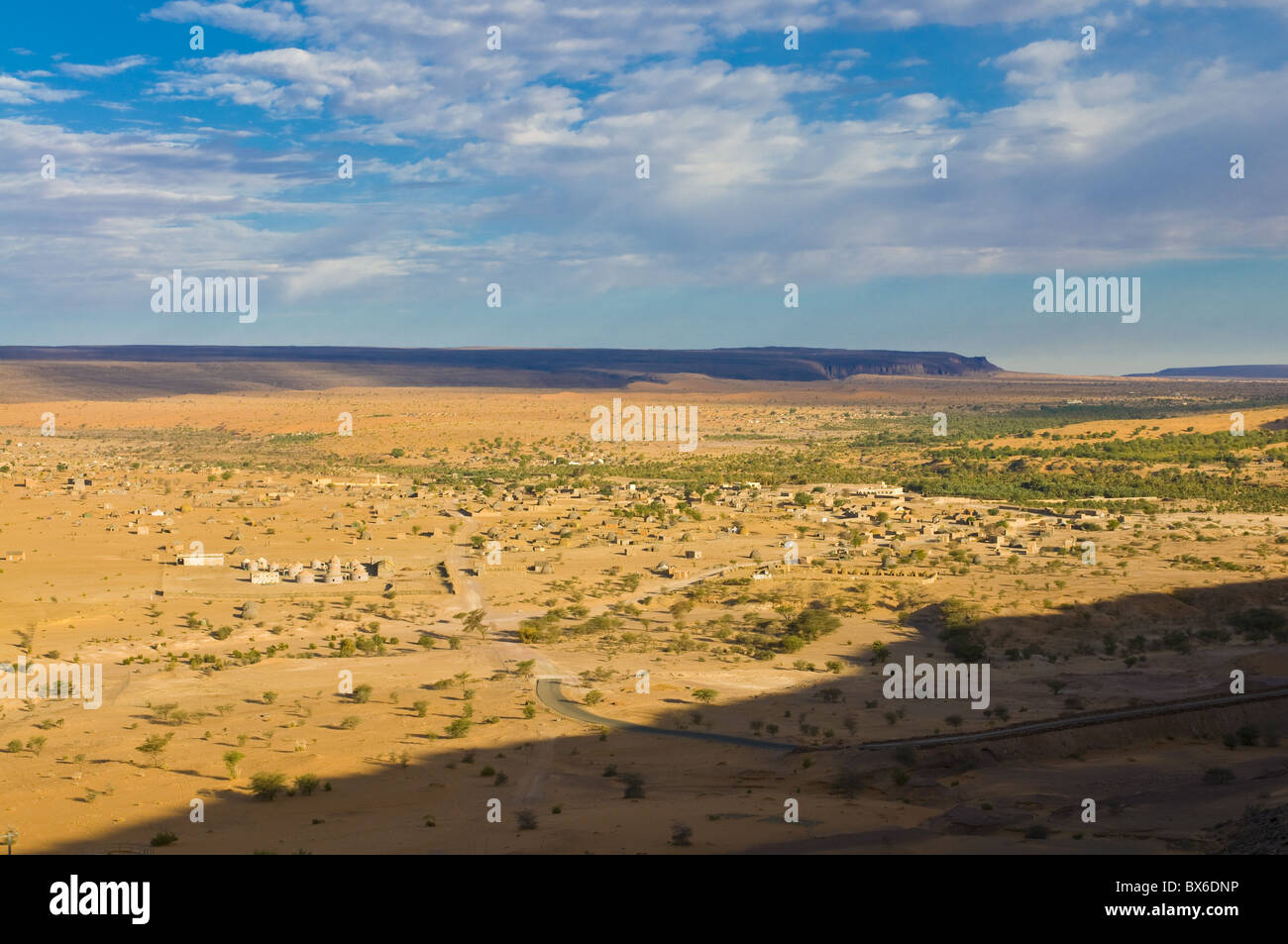 View of a wide canyon in the desert near Atar, Mauritania, Africa Stock Photo