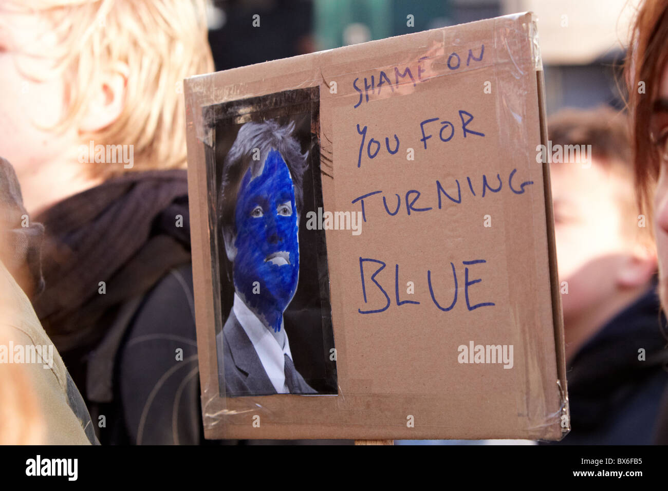 Placard carried during student protest against tuition fees - Stock Image