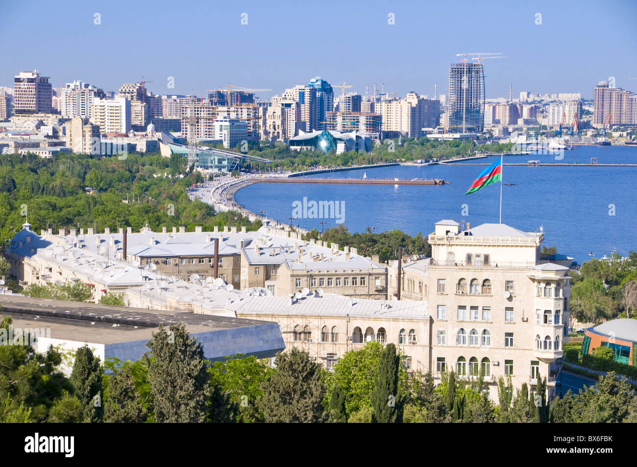 View over Baku Bay, Baku, Azerbaijan, Central Asia, Asia - Stock Image
