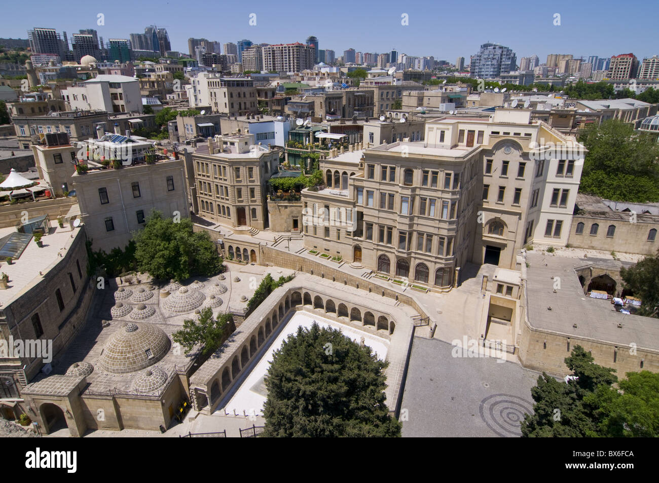 View from the Maiden Tower over the Old City of Baku, UNESCO World Heritage Site, Azerbaijan, Central Asia, Asia - Stock Image