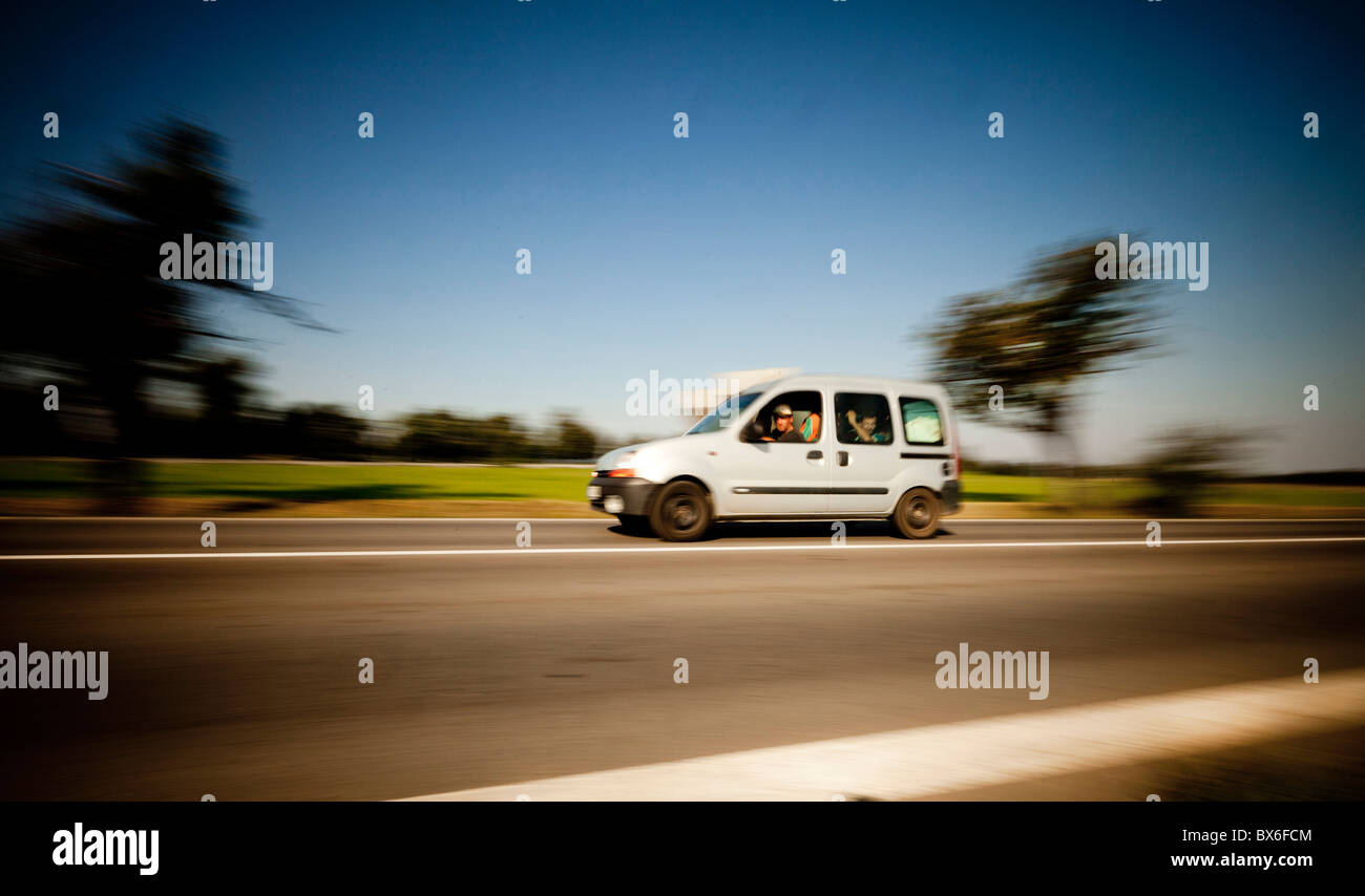 Cars, road, speed, speed limit, traffic regulations, traffic, motor vehicle code. illustrative image. - Stock Image