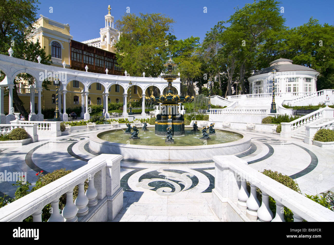 Baroque fountain square at the old city of Baku, Azerbaijan, Central Asia, Asia Stock Photo