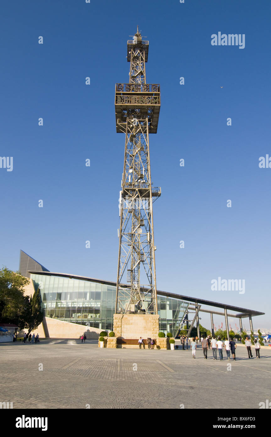 TV tower at the beachfront of Baku, Azerbaijan, Central Asia, Asia - Stock Image
