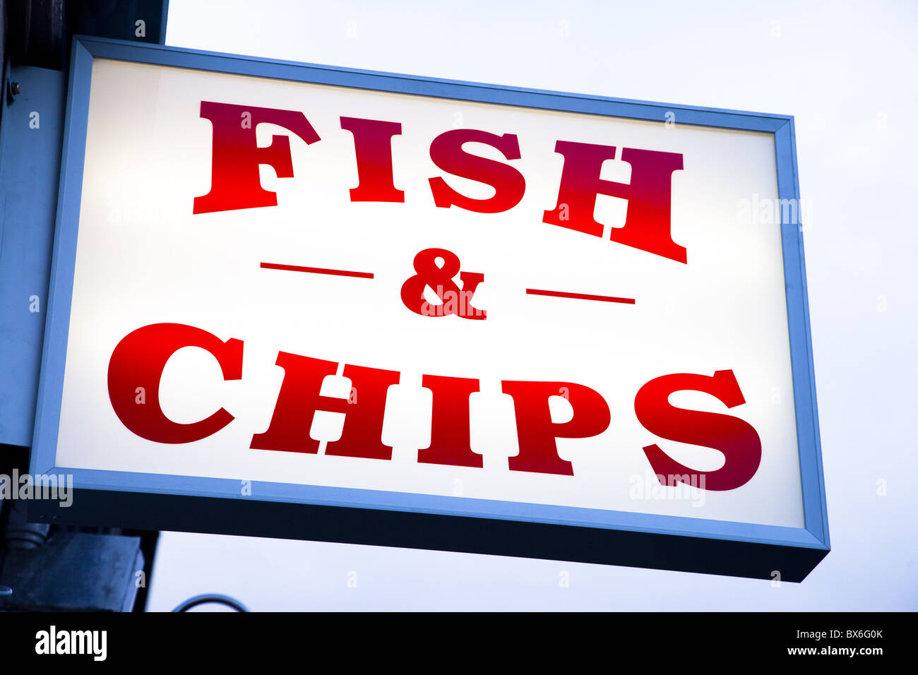 Fish and chips sign in Conwy, Clwyd, Wales, United Kingdom, Europe - Stock Image
