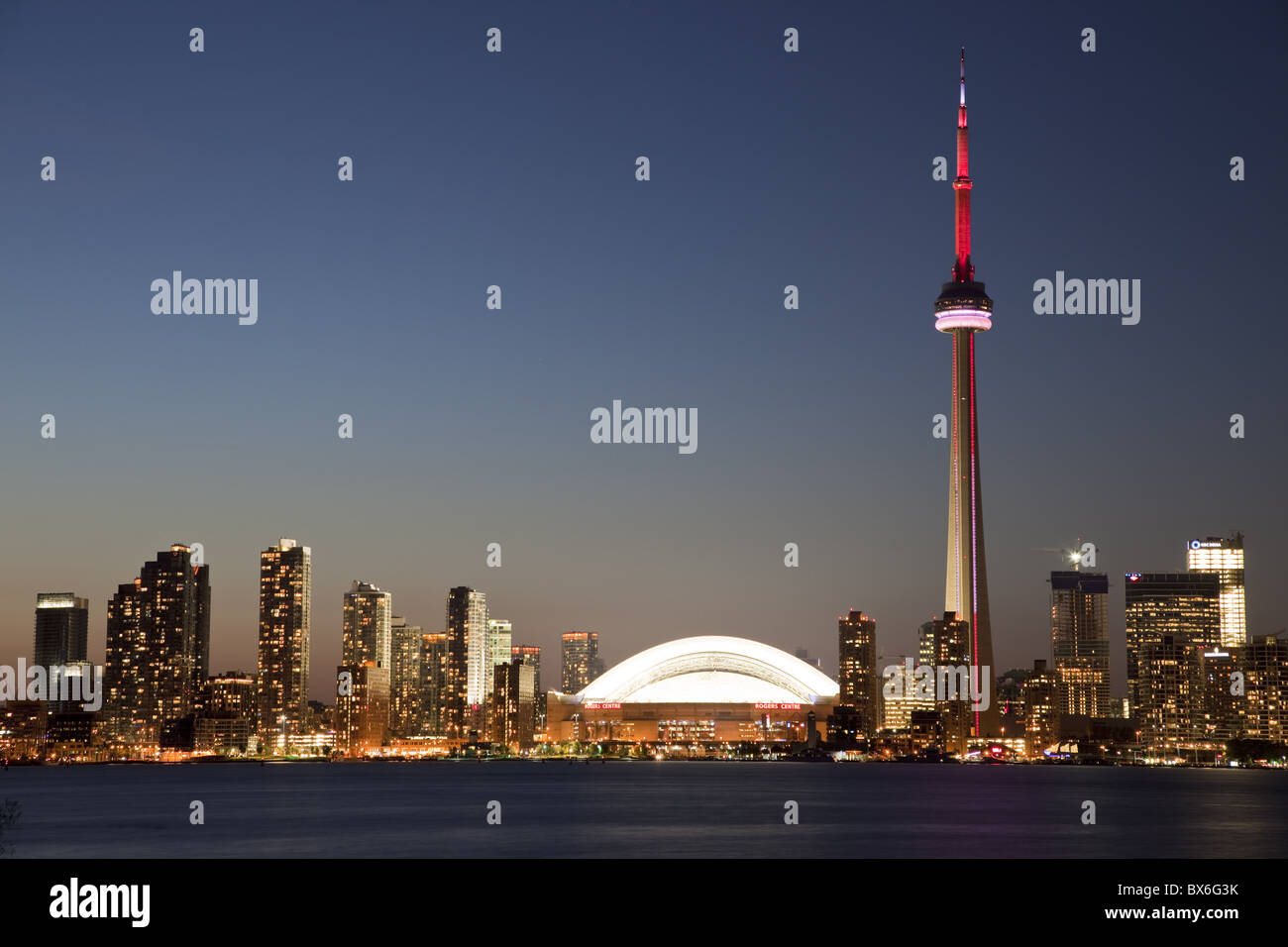 Skyline of city with CN Tower and Rogers Centre, previously The Skydome, Toronto, Ontario, Canada, North America - Stock Image