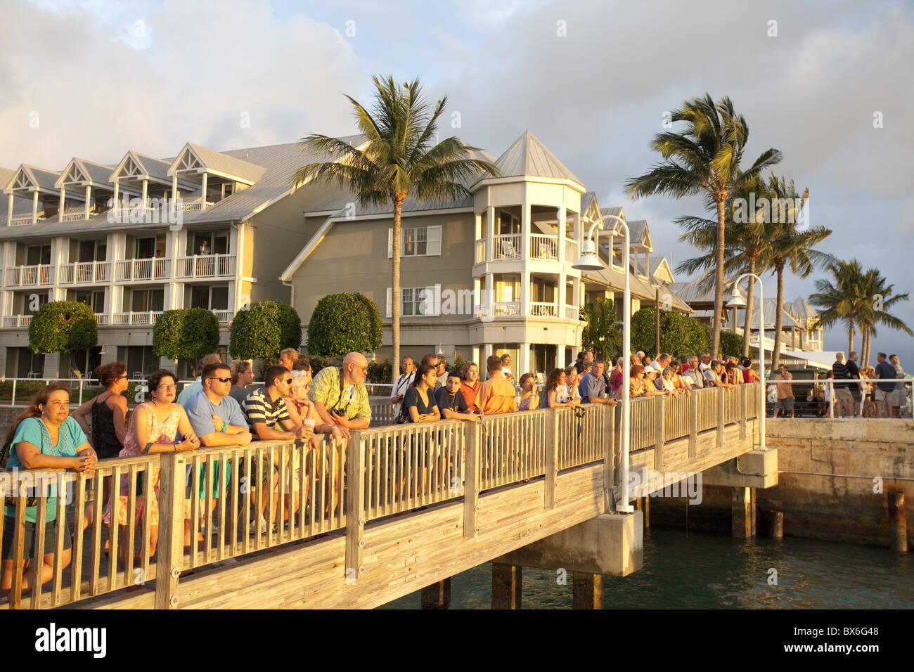Watching the sunset in Mallory Square, Key West, Florida, United States of America, North America - Stock Image