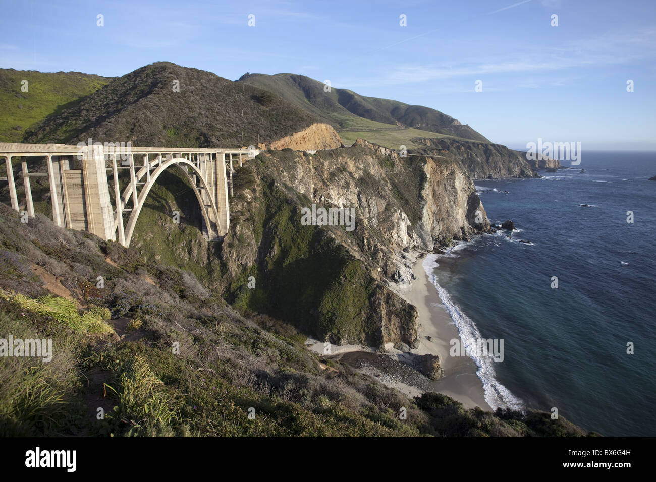 Bixby Bridge, along Highway 1 north of Big Sur, California, United States of America, North America - Stock Image