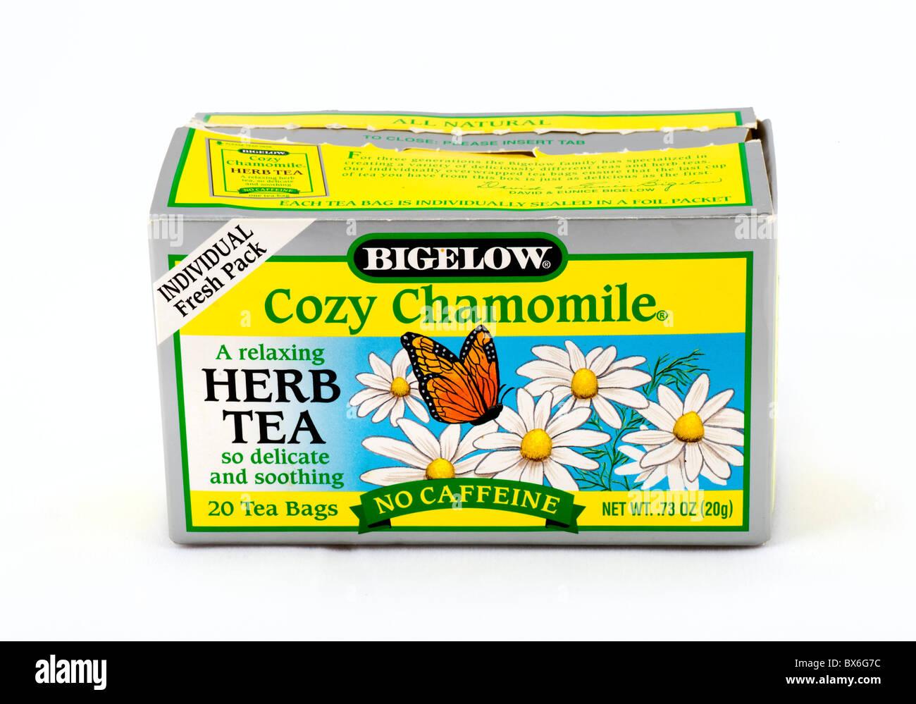 Box of Chamomile (Camomile) Tea bags, USA - Stock Image