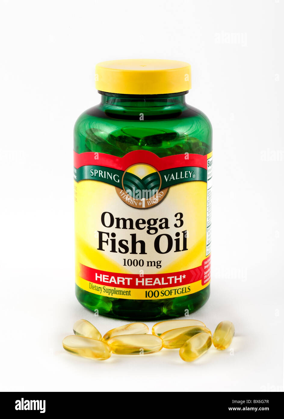 Omega 3 Fish Oil capsules, USA - Stock Image