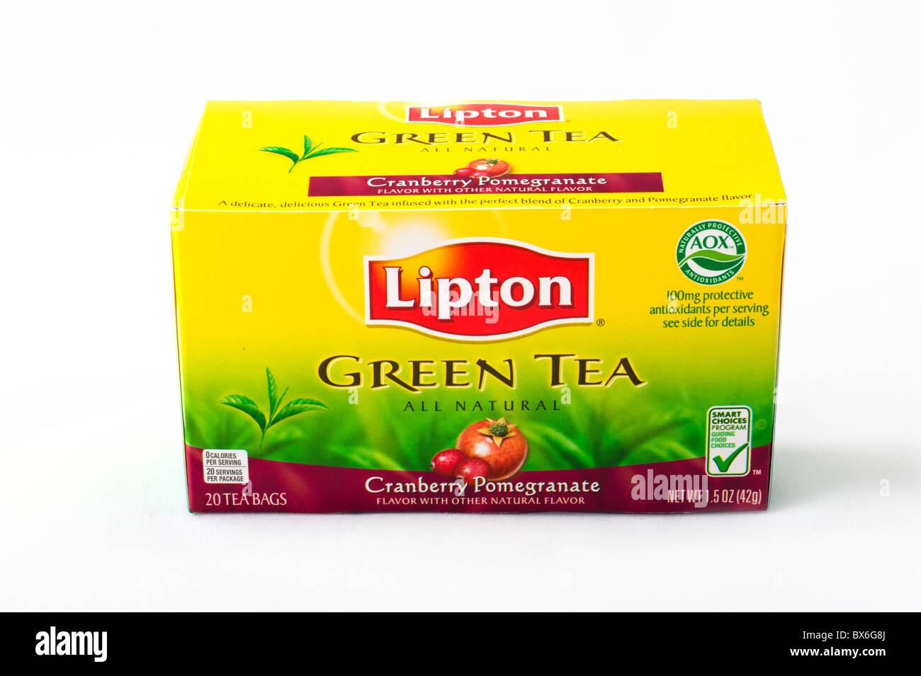Box of Lipton Green Tea bags, USA - Stock Image