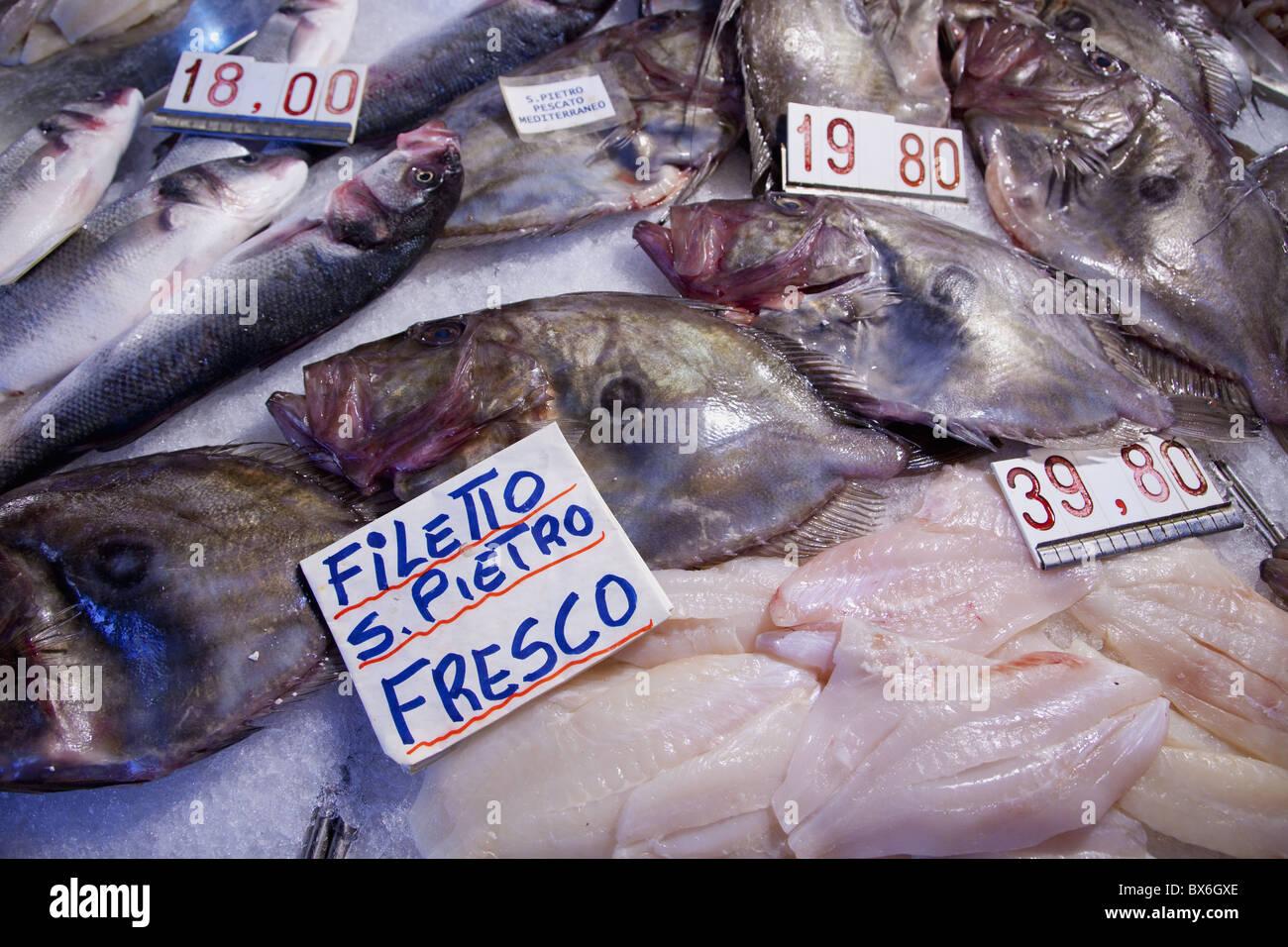 Fish for sale at a market stall, Rialto Markets, Venice, Veneto, Italy, Europe - Stock Image