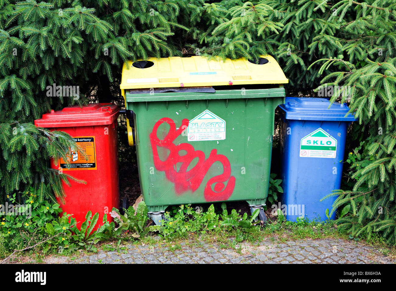 Waste management containers for plastic, glass, paper in Velke Losiny, Czech Republic. (CTK Photo/Martin Sterba) Stock Photo