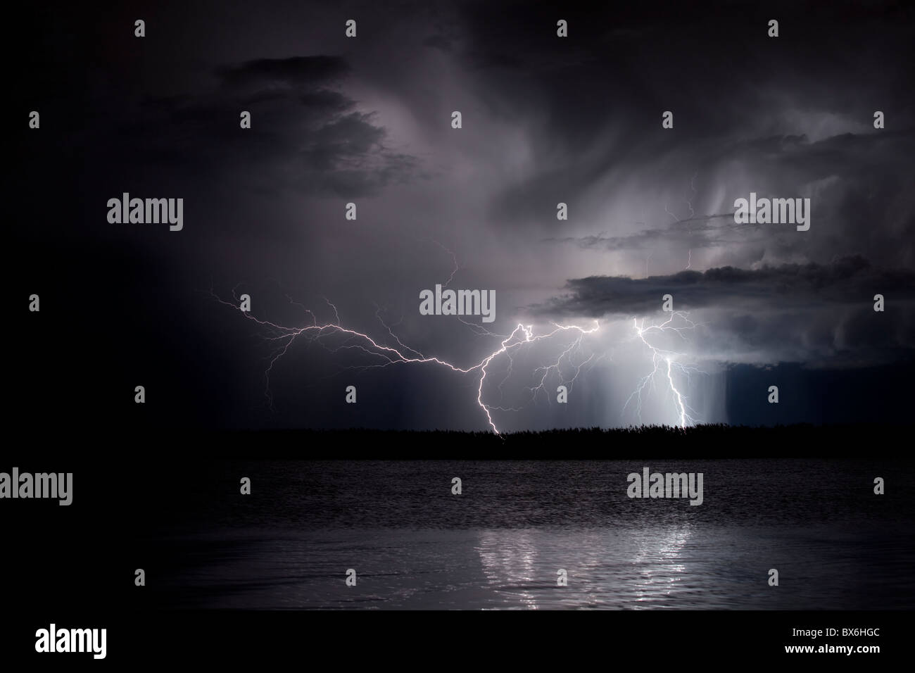 Lightning in Illa de Buda, Natural Park of Delta de l'Ebre, Tarragona, Spain Stock Photo