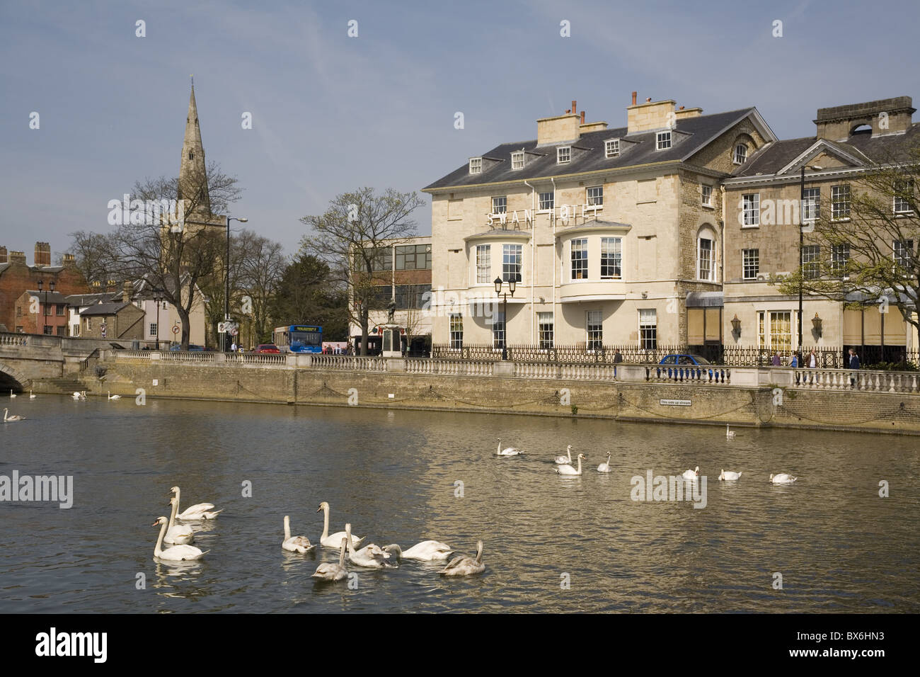 Swan Hotel and Great Ouse River, Bedford, Bedfordshire, England, United Kingdom, Europe - Stock Image