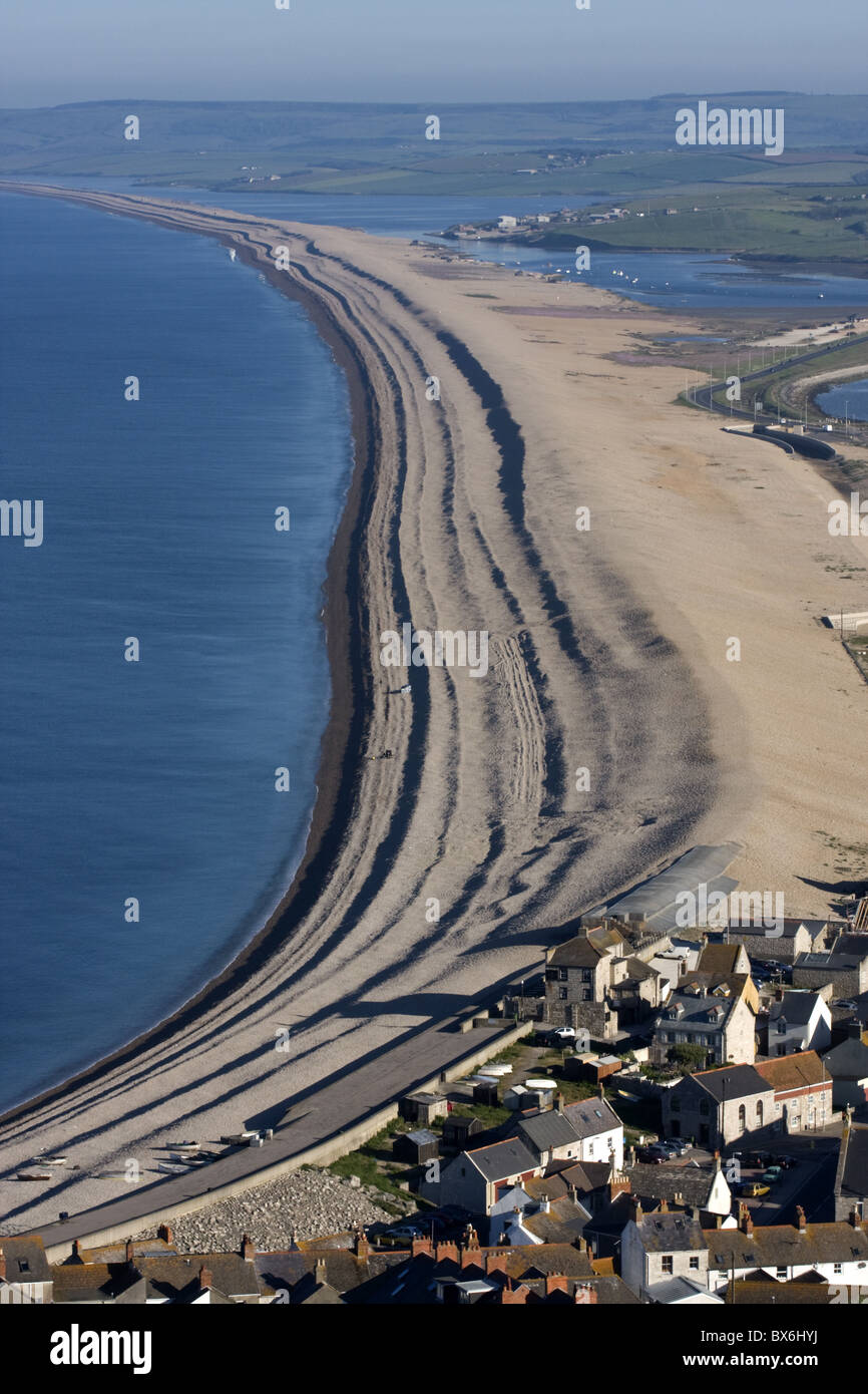 Chesil Beach and The Fleet Lagoon, Weymouth, Dorset, England, United Kingdom, Europe - Stock Image