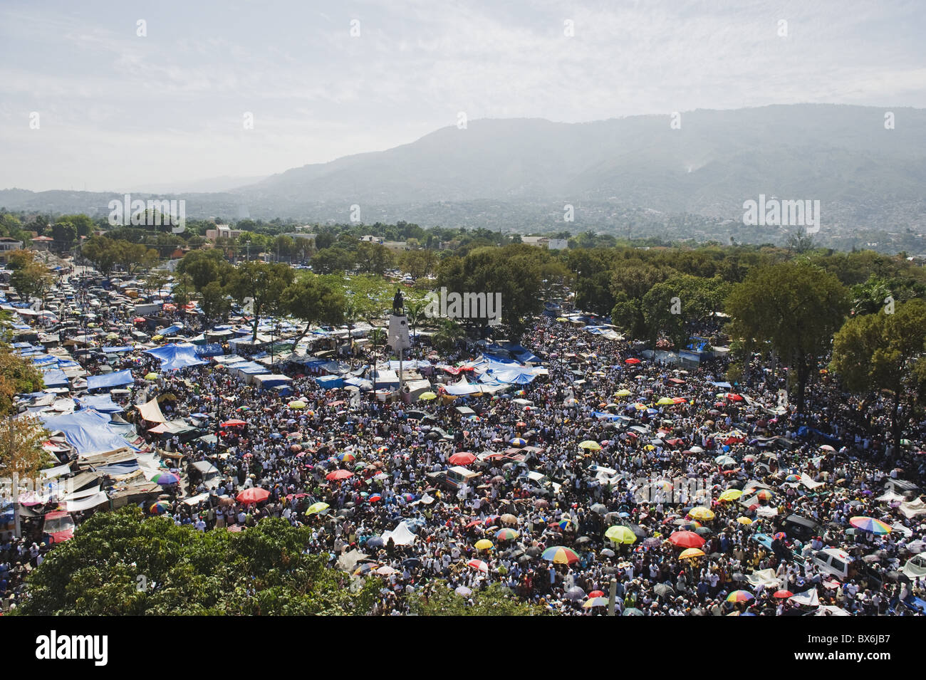 Memorial Day celebration one month after the January 2010 earthquake, Port au Prince, Haiti, West Indies - Stock Image