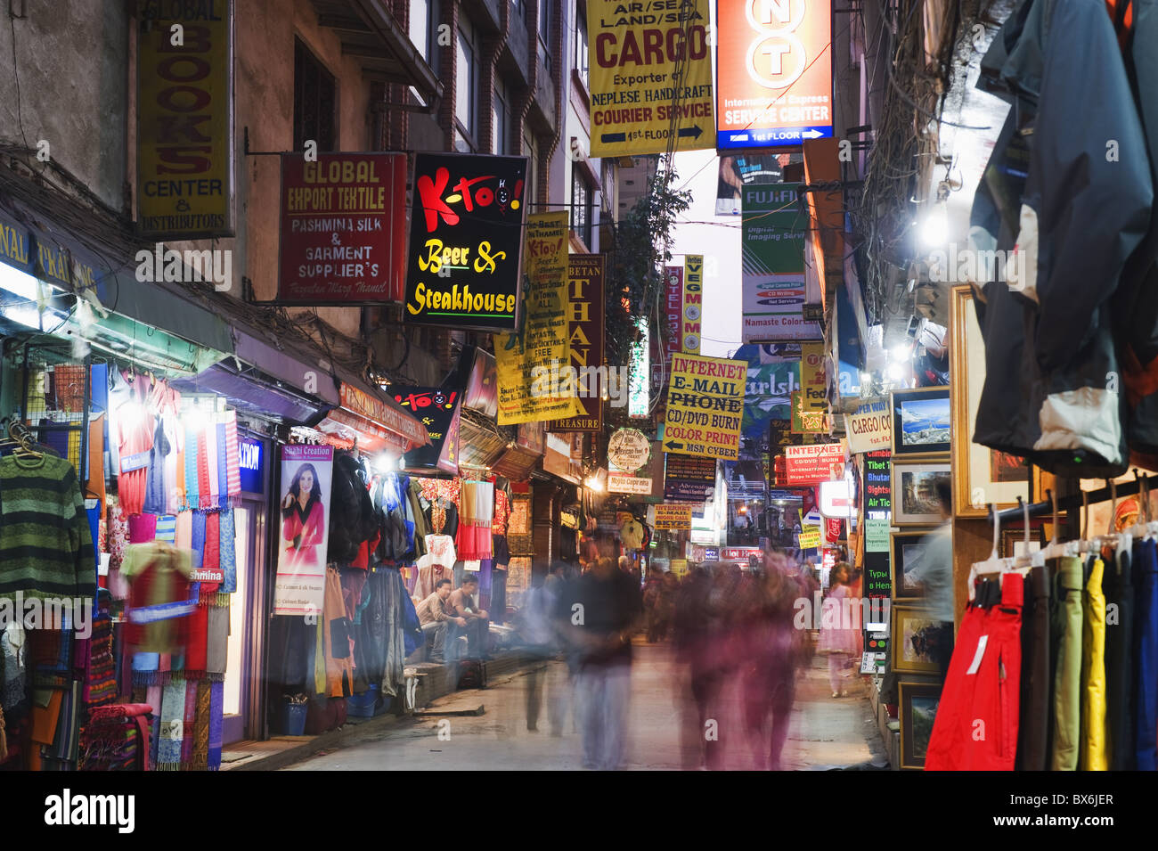 Neon lights of Thamel, Kathmandu, Nepal, Asia - Stock Image