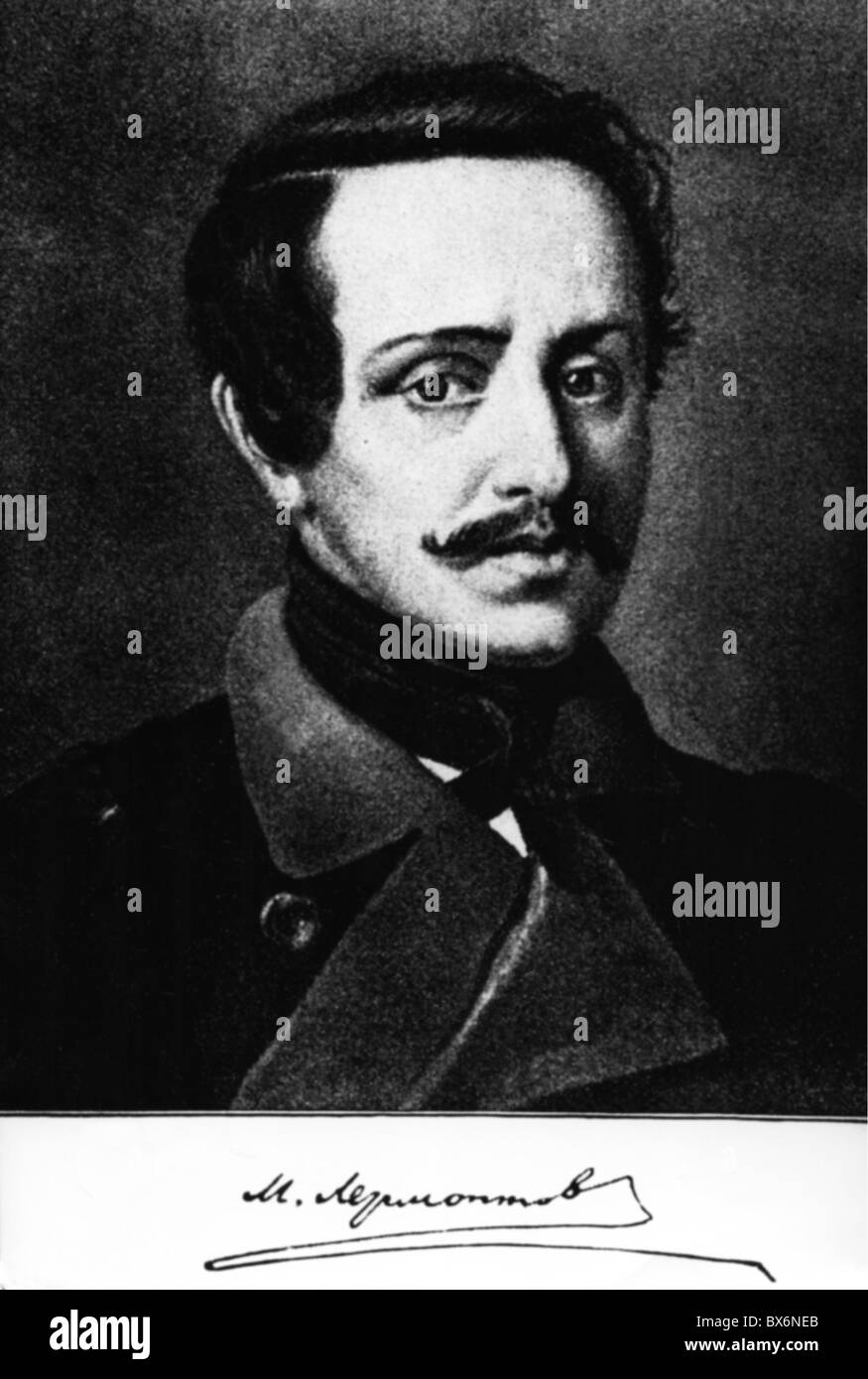 Lermontov, Mikhail Yuryevich, 15.10.1814 - 27.7.1841, Russian poet, anonymous portrait, Additional-Rights-Clearances - Stock Image