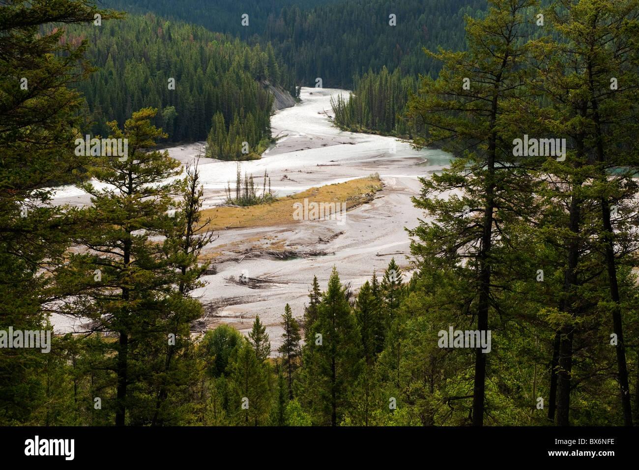 View from BC Highway 93 at Hector Gorge Viewpoint, Kootenay National Park, BC, Canada - Stock Image