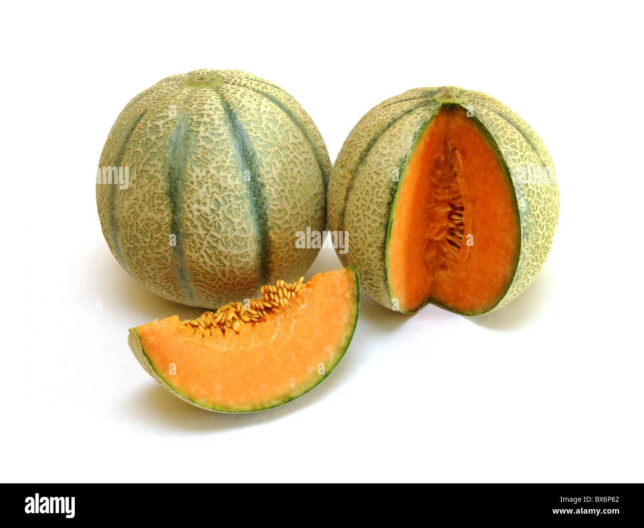 Cantaloupe / melon (Cucumis melo cantalupensis) Stock Photo