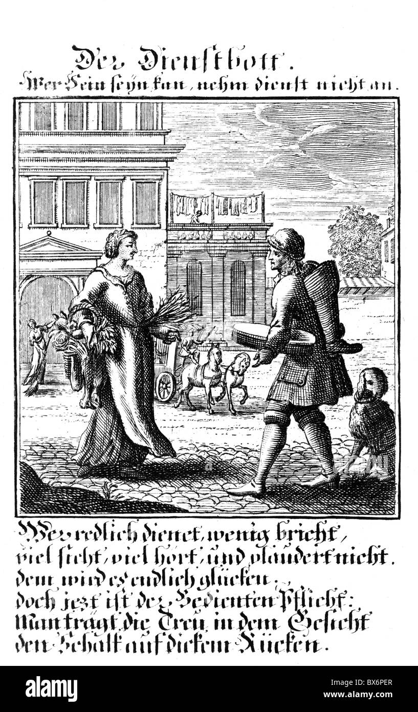 people, professions, domestic, copper engraving from 'Staendebuch' of Christoph Weigel, 1698, with verse - Stock Image