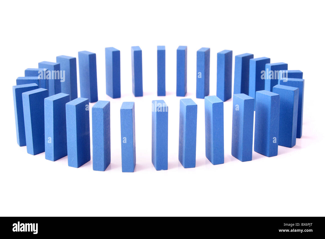 A circle of blue dominoes. All isolated on white background. - Stock Image