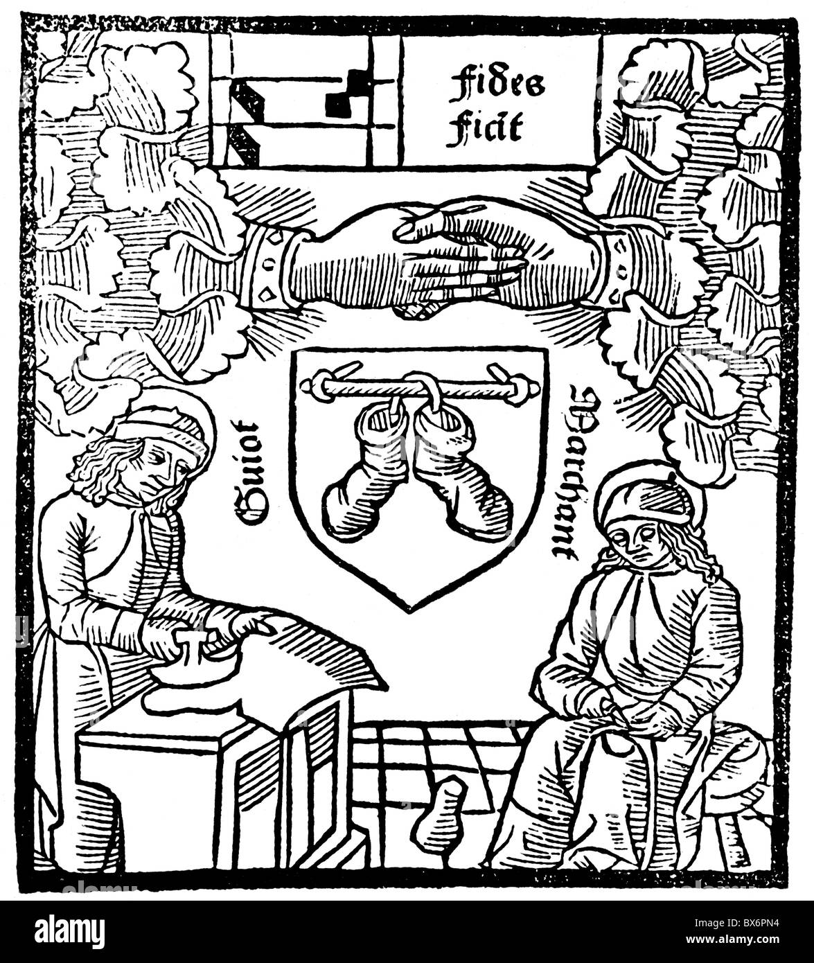 handcraft, guilds, guild sign of the shoemakers, woodcut, Faustus Andrelinus, Paris, 1494, Additional-Rights-Clearences - Stock Image