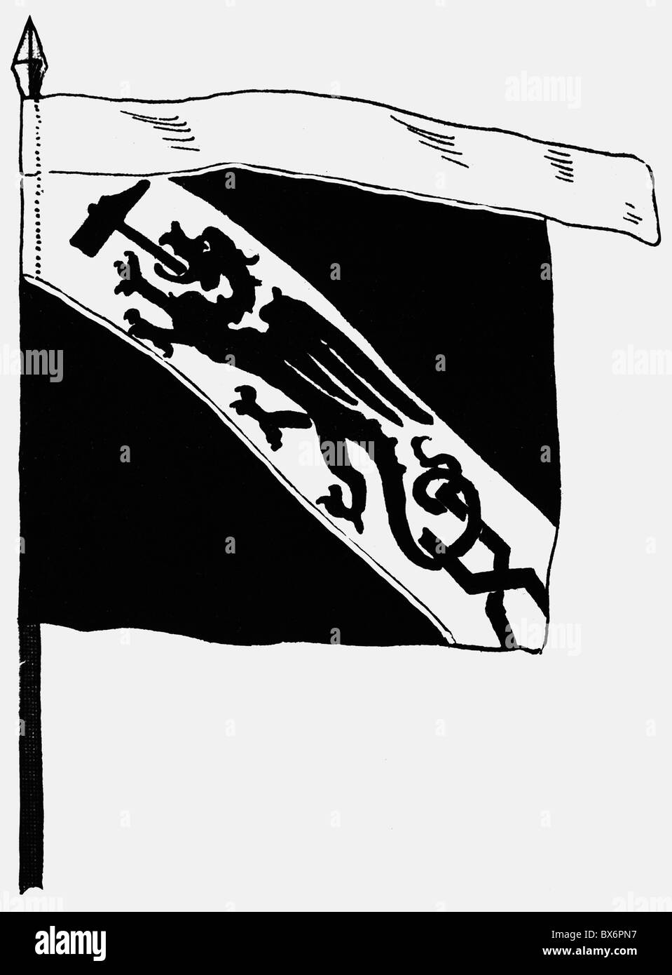 handcraft, guilds, colour of the Strassbourg guild of smiths, 15th century, drawing, 20th century, flag, sign, guild, - Stock Image