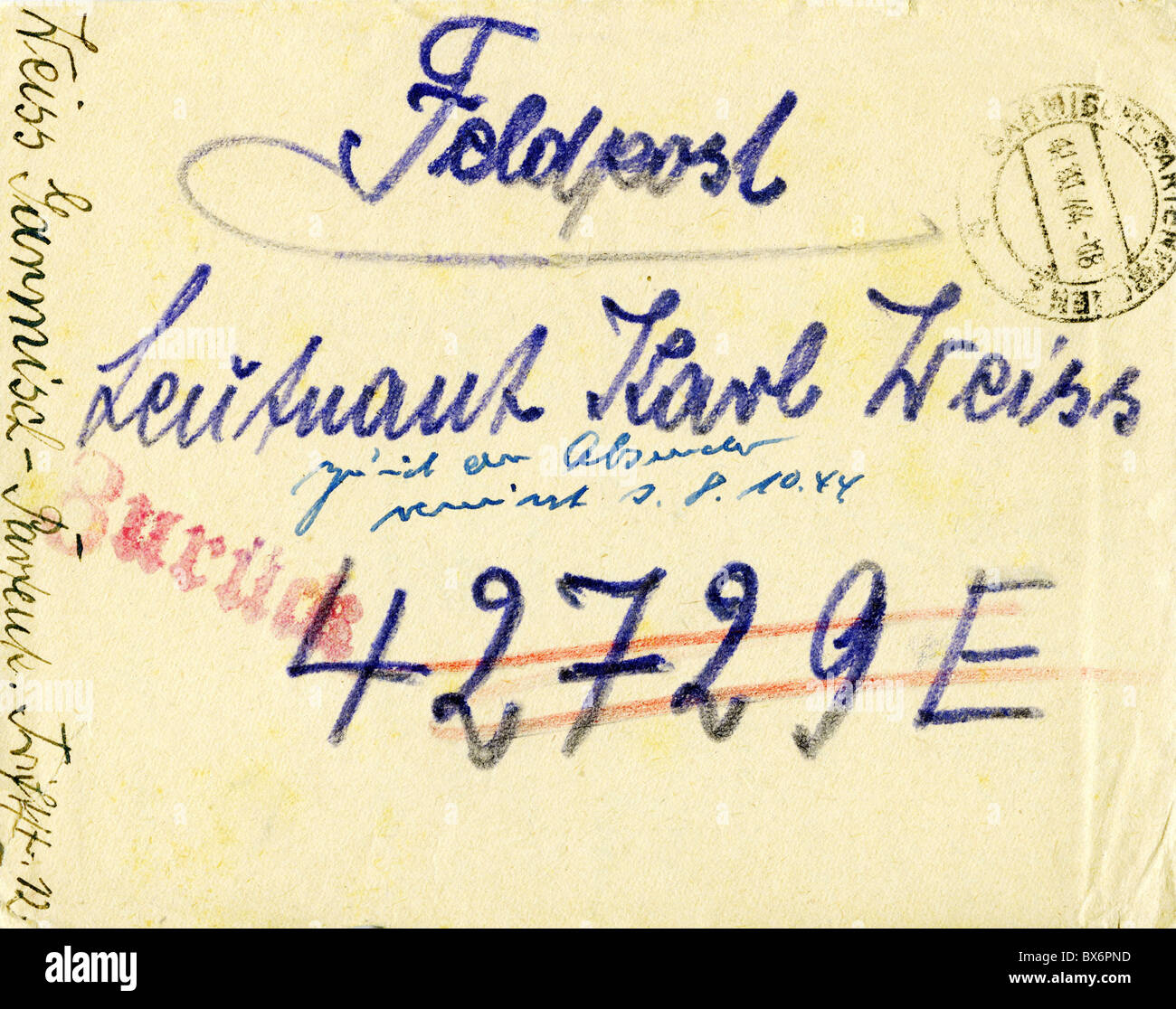 events, Second World War / WWII, Germany, army postal service letter, addressed to Lieutenant Karl Weiss, returned - Stock Image