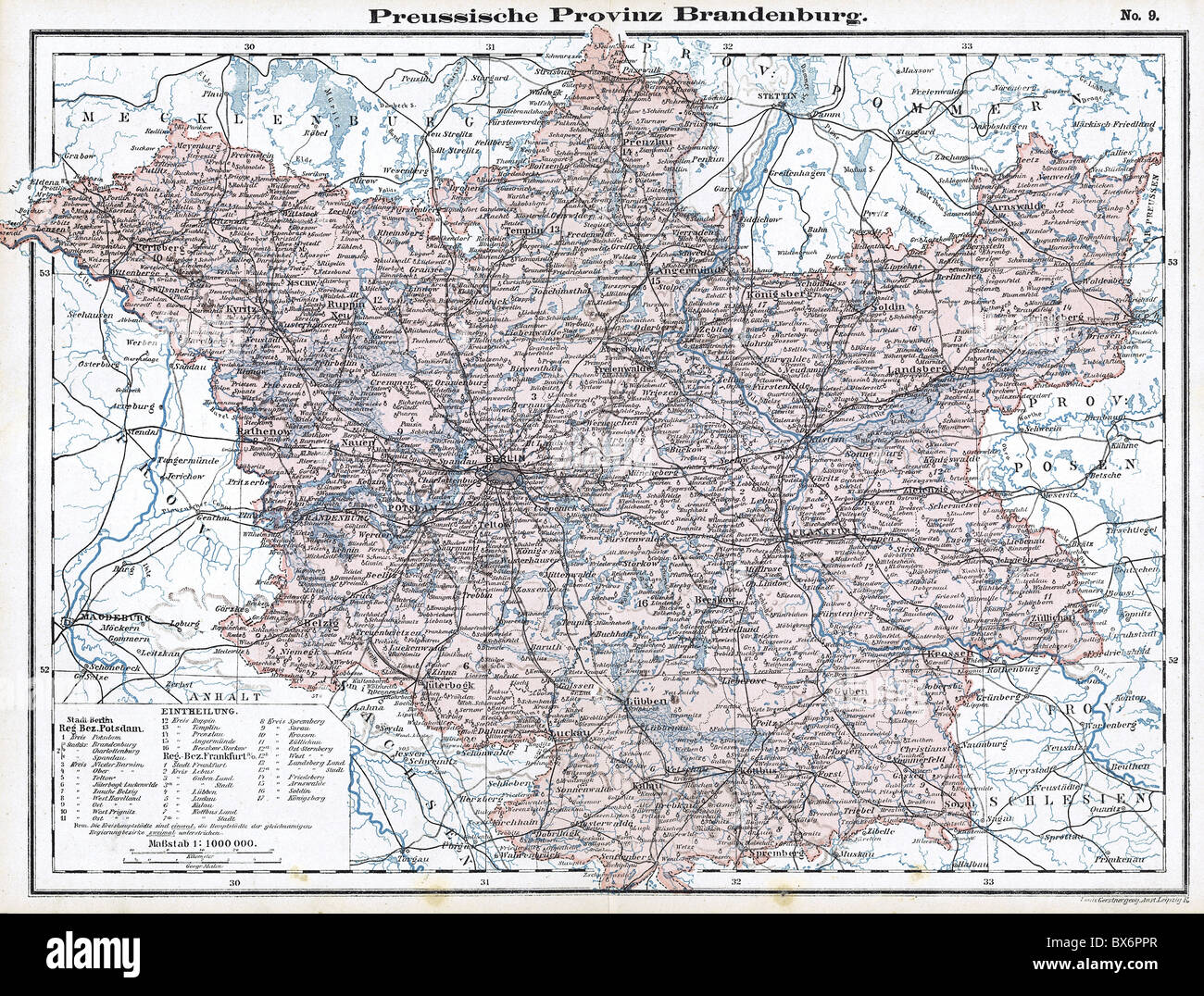 cartography maps Central Europe Germany Kingdom of Prussia Stock