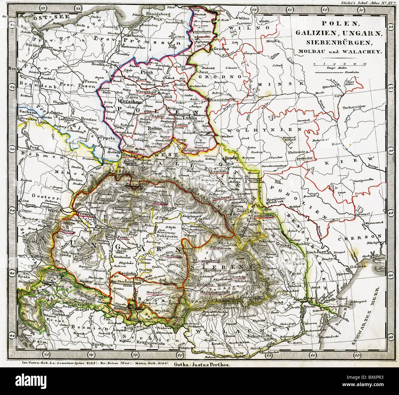 Cartography Maps Central Europe Poland Hungary Galicia Stock