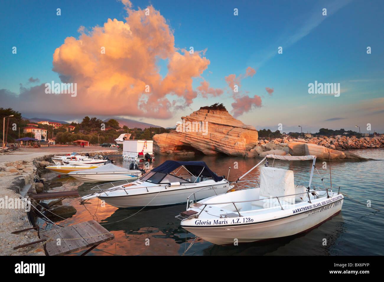 Greece - Zakynthos Island, Ionian Sea, fishing boat harbour at Laganas Stock Photo