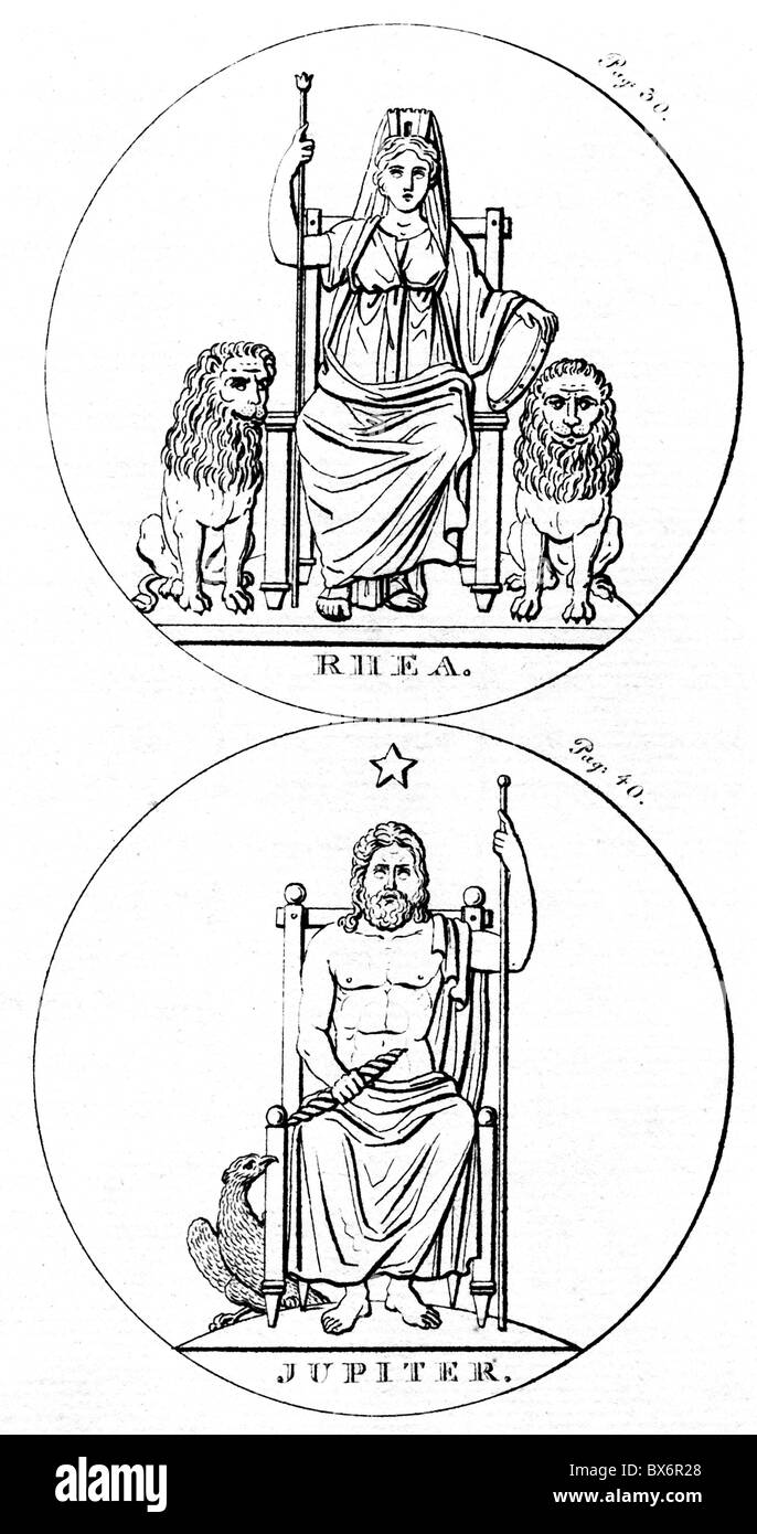 Cybele (Rhea), Phrygian/Greek goddess of nature and fertility, half length, on her throne, with lions, below: Jupiter, - Stock Image