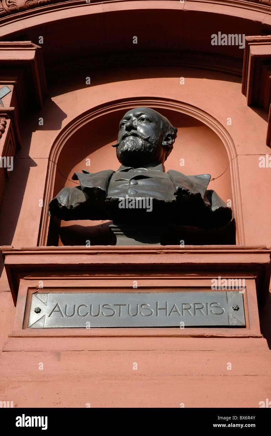 Bust of Augustus Harris (father of modern pantomime), Theatre Royal, Drury Lane, Covent Garden, London, England, - Stock Image