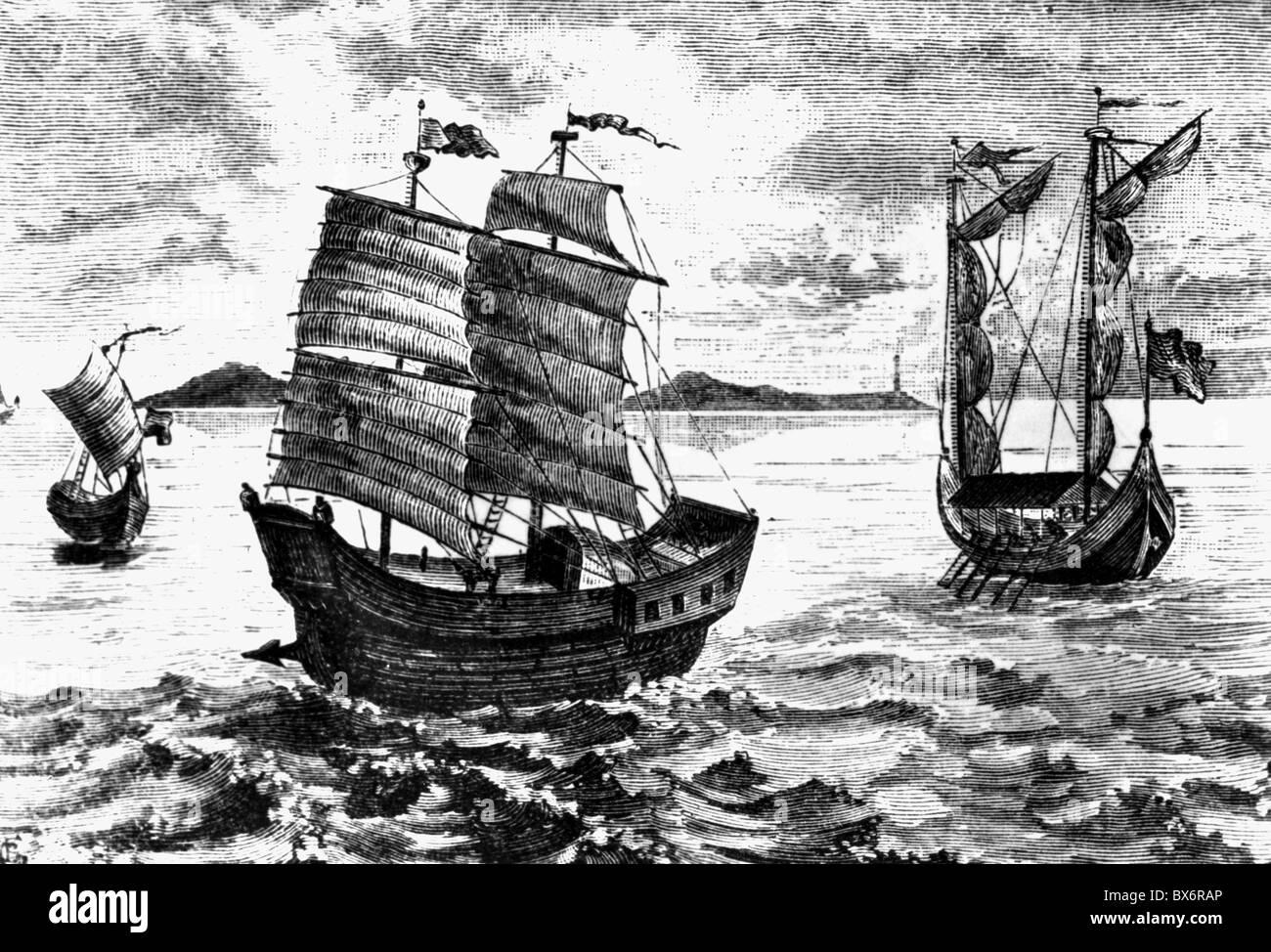 Magellan, Ferdinand (Magalhaes, Fernao de), 1480 - 27.4.1521, Portuguese navigator and explorer, his ships, Additional - Stock Image