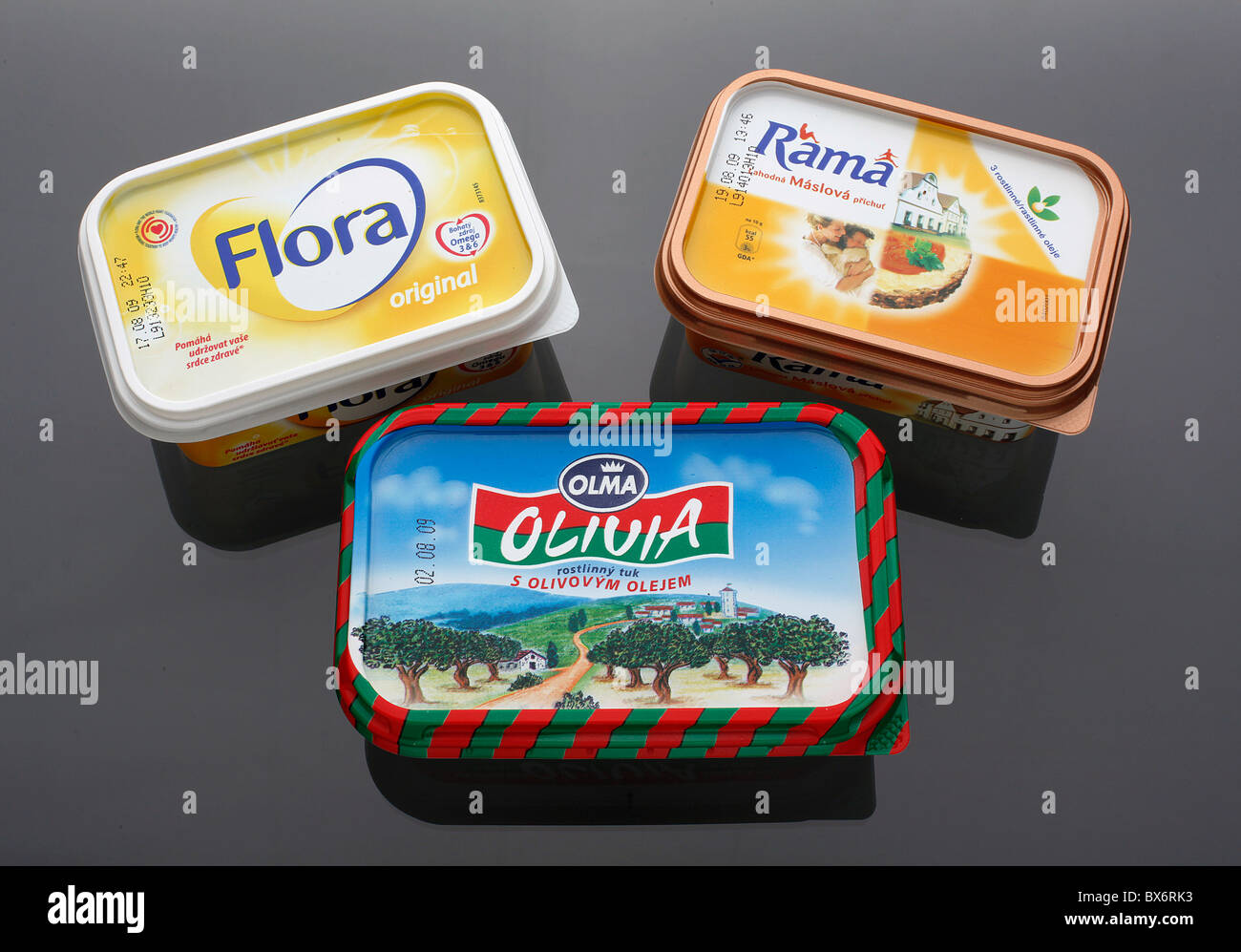 Rama, Flora and Olivia, fresquent margarines, butter substitutes, made by Czech dairies. (CTK Photo/Martin Sterba) - Stock Image