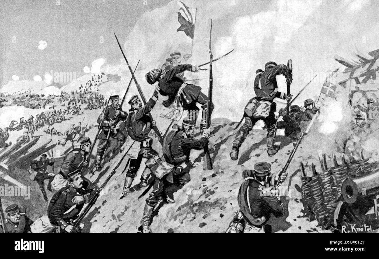 events, Second Schleswig War 1864, Battle of Dybbol, 18.4.1864, Prussian  troops storming the Danish redoubts, drawing by Richard Knoetel (1857 -  1914), ...