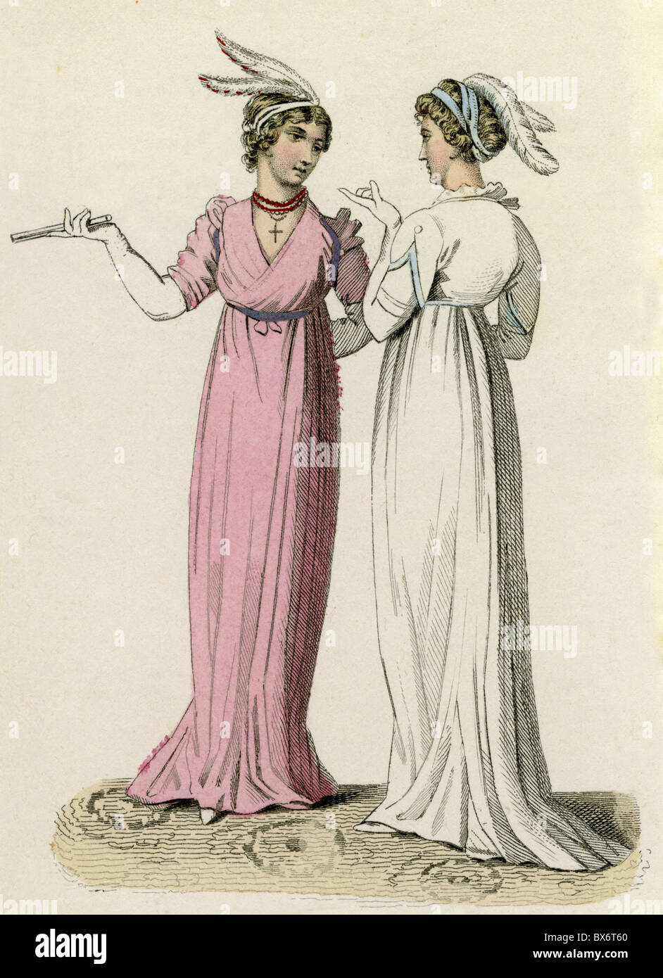 fashion, 19th century, English afternoon dresses, June 1801, Additional-Rights-Clearences-NA - Stock Image