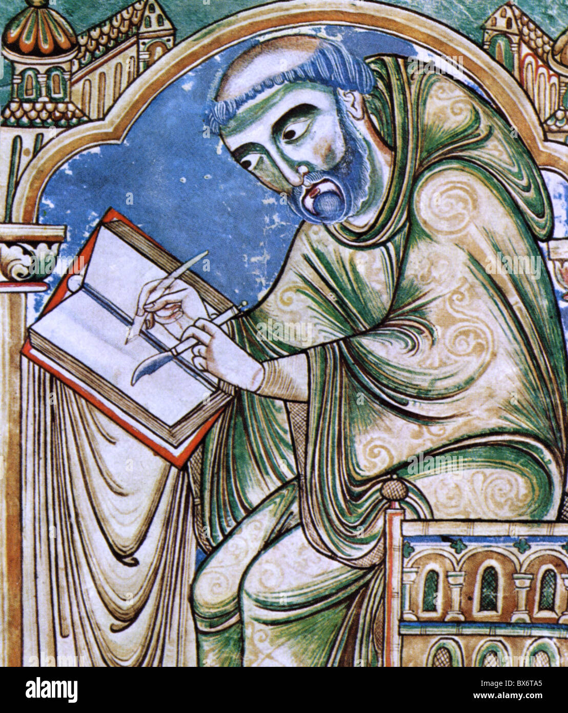 people, professions, scrivener, monk Eadwin with penknife and quill, detail from Eadwin-Psalter, Canterbury, mid - Stock Image