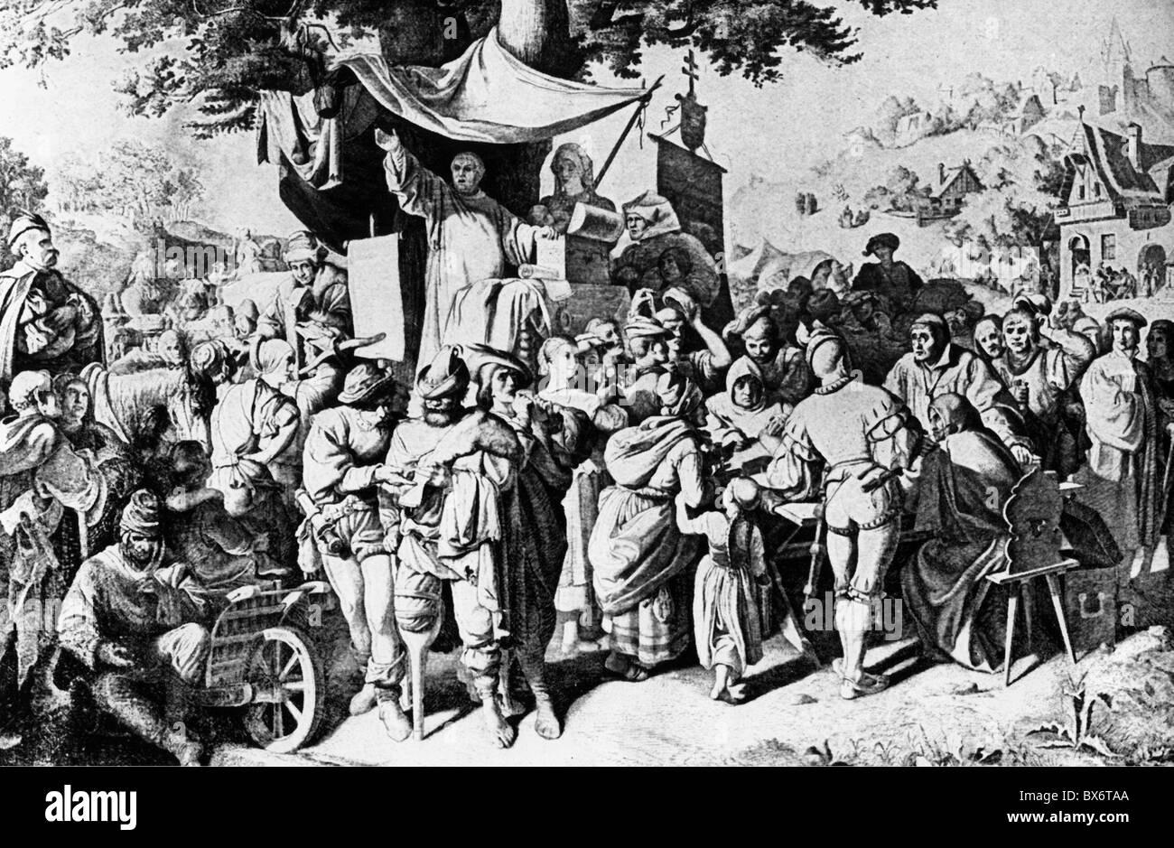 Tetzel, Johann, circa 1465 - 11.8.1519, German Dominicain preacher, pardoner, scene, selling indulgences, illustration - Stock Image