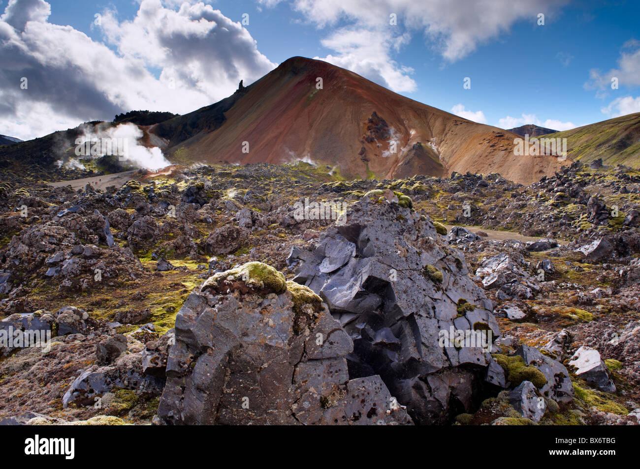 Brennisteinsalda, 855 m, Iceland's most colourful mountain, dominates the lava fields of Laugahraun, Iceland - Stock Image