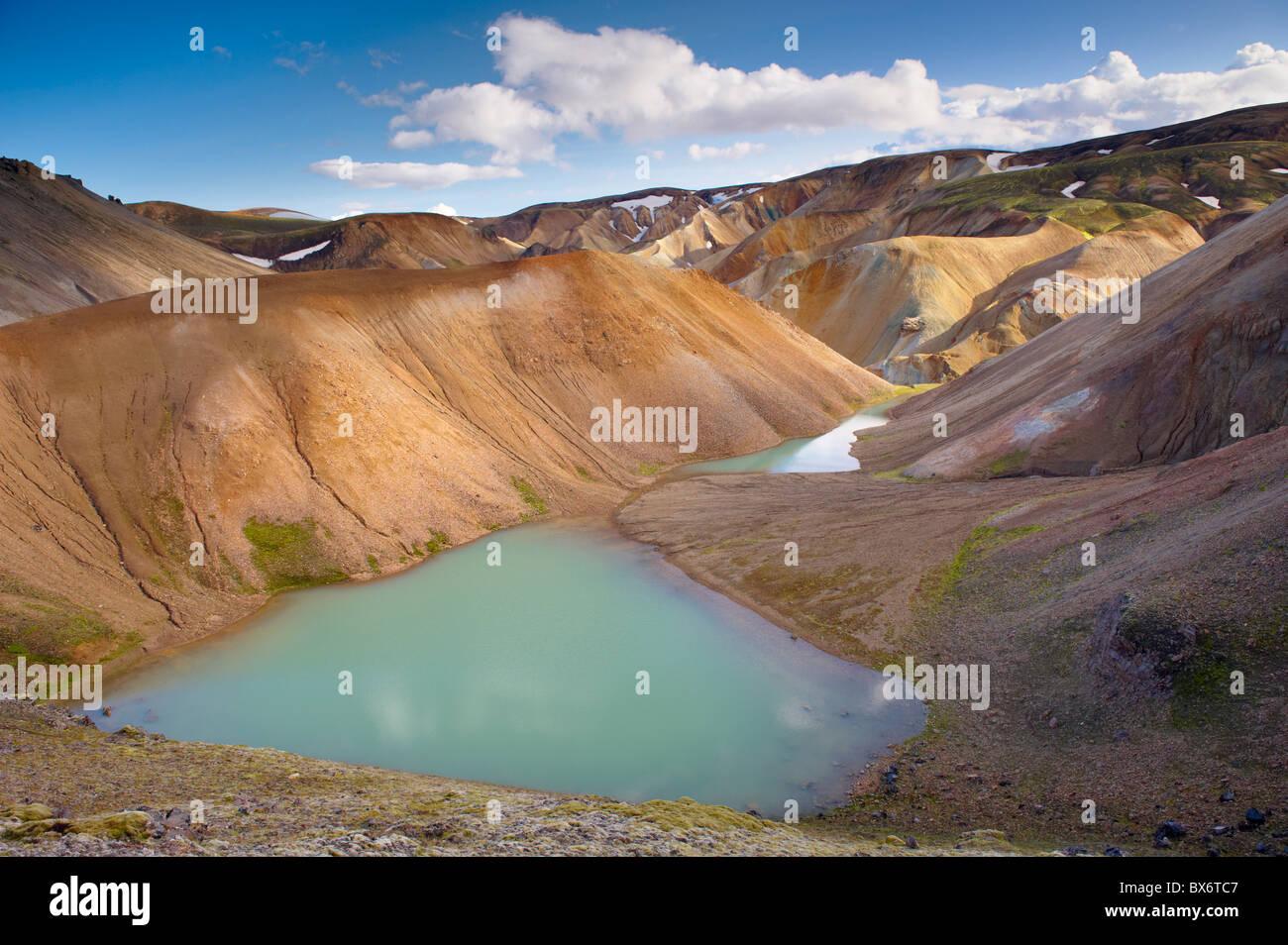 Rhyolite slopes and screes in Graenagil ravine, Landmannalaugar area, Fjallabak region, Iceland, Polar Regions - Stock Image