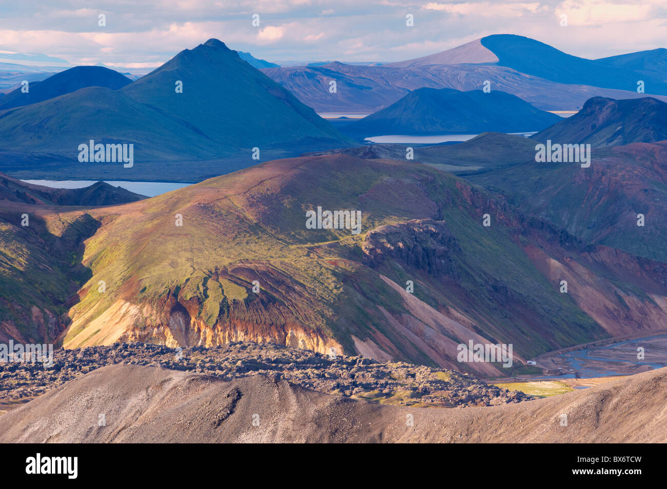 Laugahraun lava field seen from the slopes of Blahnukur, Landmannalaugar area, Fjallabak region, Iceland, Europe - Stock Image